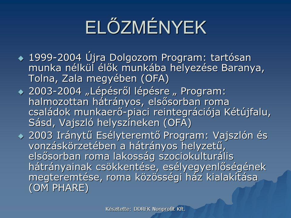 Készítette: DDRFK Nonprofit Kft. ELŐZMÉNYEK  1999-2004 Újra Dolgozom Program: tartósan munka nélkül élők munkába helyezése Baranya, Tolna, Zala megyé