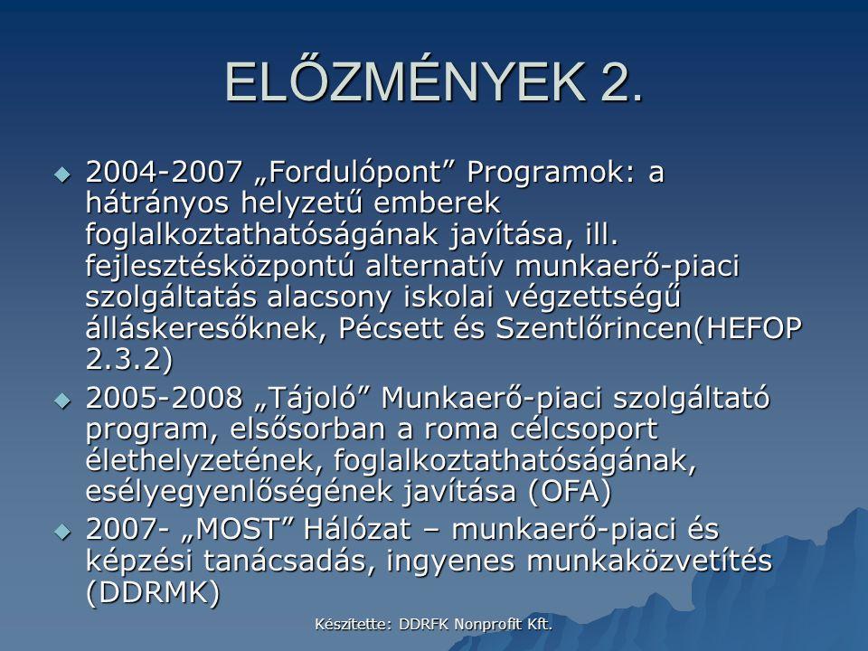 """Készítette: DDRFK Nonprofit Kft. ELŐZMÉNYEK 2.  2004-2007 """"Fordulópont"""" Programok: a hátrányos helyzetű emberek foglalkoztathatóságának javítása, ill"""