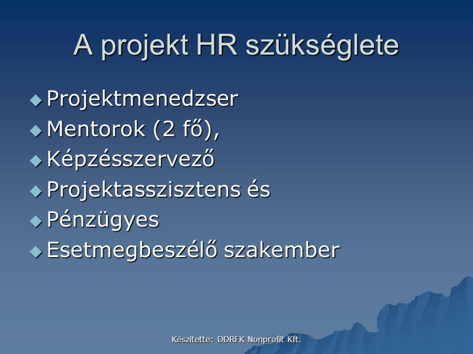 Készítette: DDRFK Nonprofit Kft. A projekt HR szükséglete  Projektmenedzser  Mentorok (2 fő),  Képzésszervező  Projektasszisztens és  Pénzügyes 