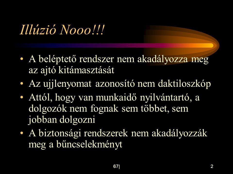 67 2 Illúzió Nooo!!! •A beléptető rendszer nem akadályozza meg az ajtó kitámasztását •Az ujjlenyomat azonosító nem daktiloszkóp •Attól, hogy van munka