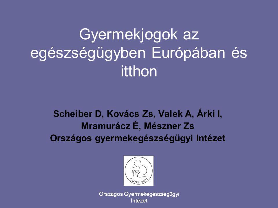 Országos Gyermekegészségügyi Intézet Gyermekjogok az egészségügyben Európában és itthon Scheiber D, Kovács Zs, Valek A, Árki I, Mramurácz É, Mészner Z