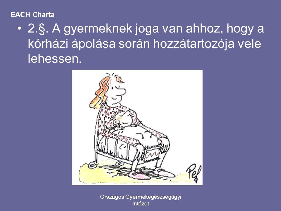 Országos Gyermekegészségügyi Intézet EACH Charta •2.§. A gyermeknek joga van ahhoz, hogy a kórházi ápolása során hozzátartozója vele lehessen.