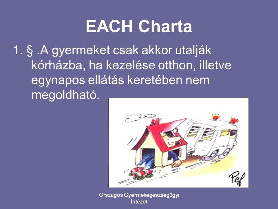 EACH Charta 1. §.A gyermeket csak akkor utalják kórházba, ha kezelése otthon, illetve egynapos ellátás keretében nem megoldható.