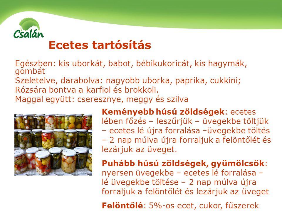 Ecetes tartósítás Egészben: kis uborkát, babot, bébikukoricát, kis hagymák, gombát Szeletelve, darabolva: nagyobb uborka, paprika, cukkini; Rózsára bo