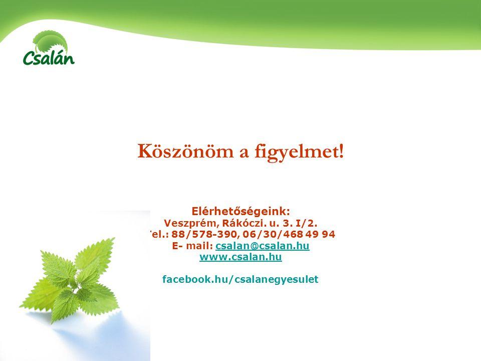 Köszönöm a figyelmet! Elérhetőségeink: Veszprém, Rákóczi. u. 3. I/2. Tel.: 88/578-390, 06/30/468 49 94 E- mail: csalan@csalan.hucsalan@csalan.hu www.c