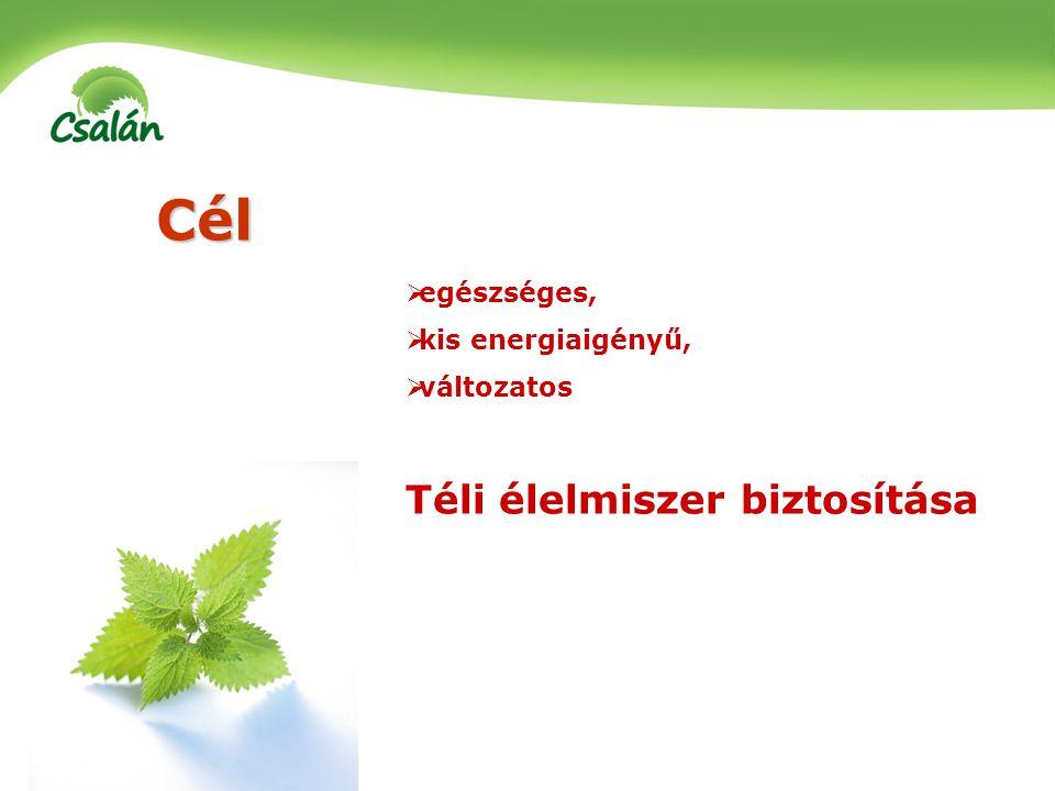 Cél  egészséges,  kis energiaigényű,  változatos Téli élelmiszer biztosítása