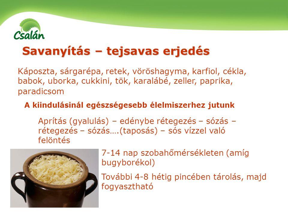 Savanyítás – tejsavas erjedés Káposzta, sárgarépa, retek, vöröshagyma, karfiol, cékla, babok, uborka, cukkini, tök, karalábé, zeller, paprika, paradic