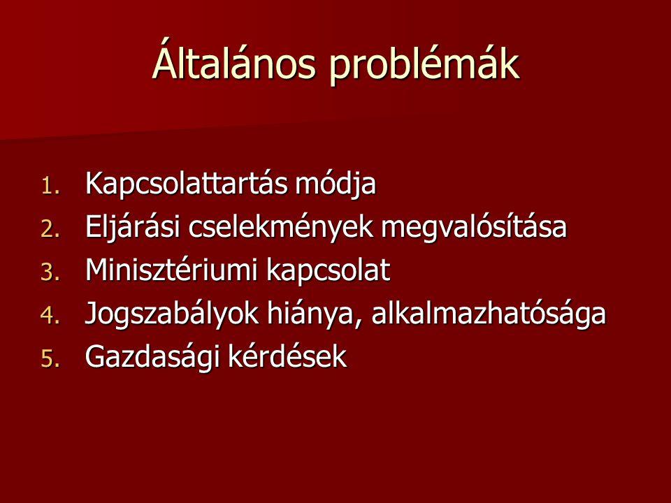 Általános problémák 1. Kapcsolattartás módja 2. Eljárási cselekmények megvalósítása 3.