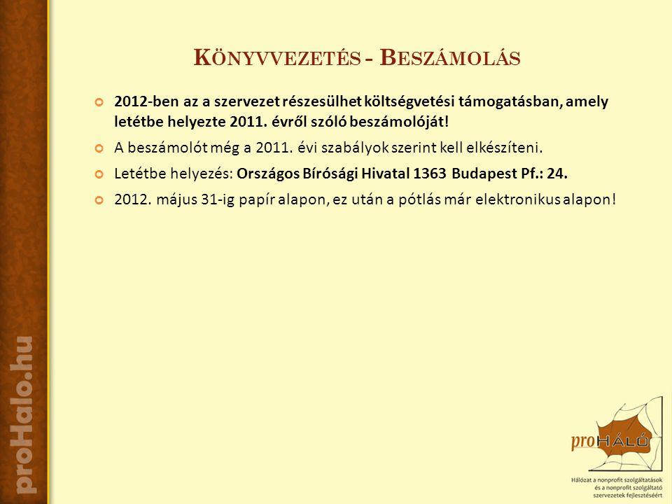 K ÖNYVVEZETÉS - B ESZÁMOLÁS 2012-ben az a szervezet részesülhet költségvetési támogatásban, amely letétbe helyezte 2011.