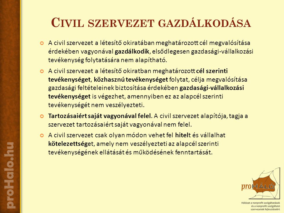 C IVIL SZERVEZET GAZDÁLKODÁSA A civil szervezet a létesítő okiratában meghatározott cél megvalósítása érdekében vagyonával gazdálkodik, elsődlegesen gazdasági-vállalkozási tevékenység folytatására nem alapítható.