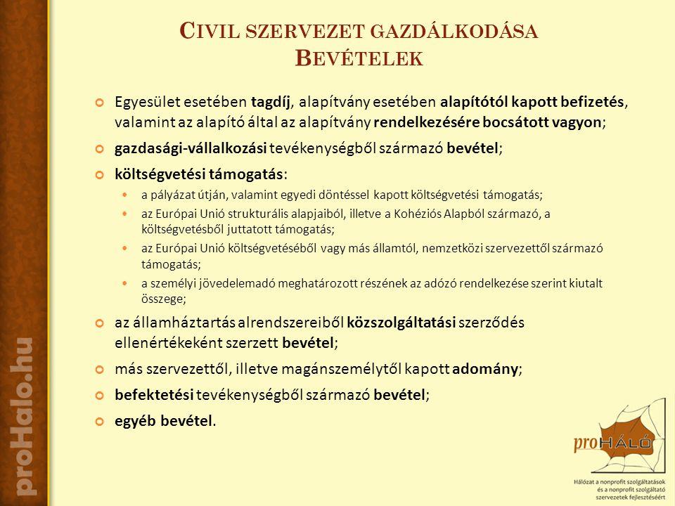 C IVIL SZERVEZET GAZDÁLKODÁSA B EVÉTELEK Egyesület esetében tagdíj, alapítvány esetében alapítótól kapott befizetés, valamint az alapító által az alapítvány rendelkezésére bocsátott vagyon; gazdasági-vállalkozási tevékenységből származó bevétel; költségvetési támogatás:  a pályázat útján, valamint egyedi döntéssel kapott költségvetési támogatás;  az Európai Unió strukturális alapjaiból, illetve a Kohéziós Alapból származó, a költségvetésből juttatott támogatás;  az Európai Unió költségvetéséből vagy más államtól, nemzetközi szervezettől származó támogatás;  a személyi jövedelemadó meghatározott részének az adózó rendelkezése szerint kiutalt összege; az államháztartás alrendszereiből közszolgáltatási szerződés ellenértékeként szerzett bevétel; más szervezettől, illetve magánszemélytől kapott adomány; befektetési tevékenységből származó bevétel; egyéb bevétel.