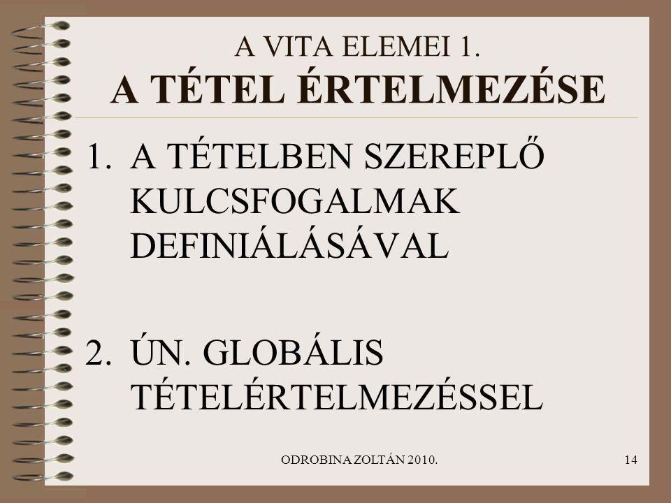 ODROBINA ZOLTÁN 2010.14 A VITA ELEMEI 1. A TÉTEL ÉRTELMEZÉSE 1.A TÉTELBEN SZEREPLŐ KULCSFOGALMAK DEFINIÁLÁSÁVAL 2.ÚN. GLOBÁLIS TÉTELÉRTELMEZÉSSEL