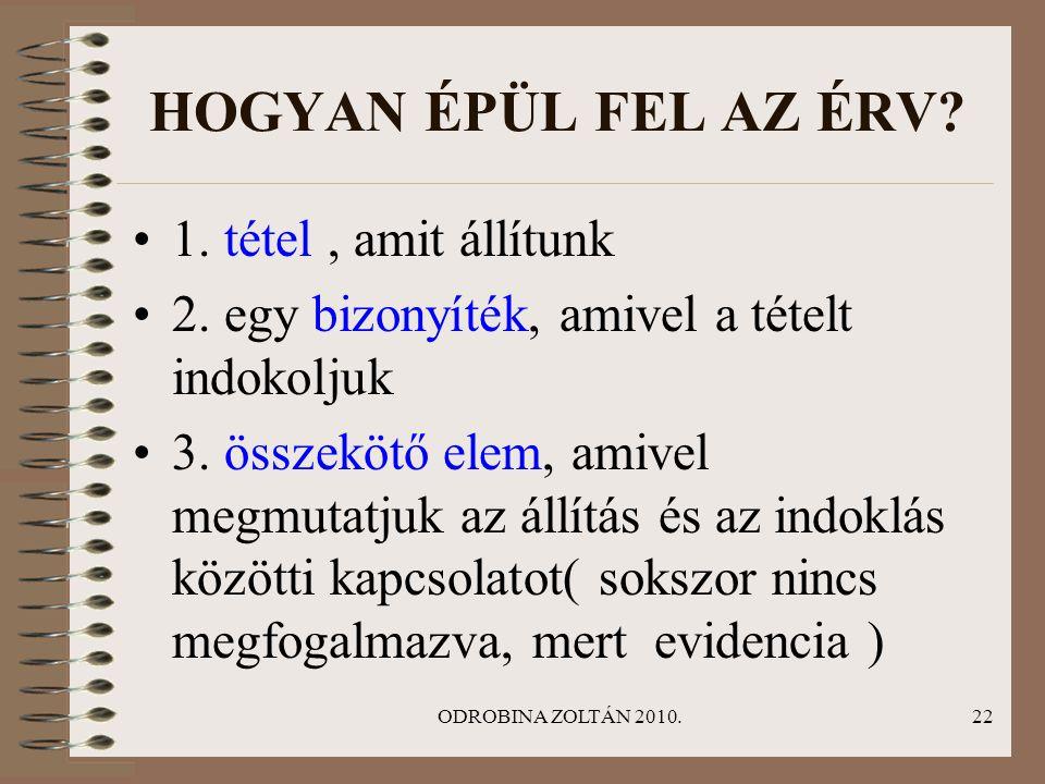 ODROBINA ZOLTÁN 2010.22 HOGYAN ÉPÜL FEL AZ ÉRV? •1. tétel, amit állítunk •2. egy bizonyíték, amivel a tételt indokoljuk •3. összekötő elem, amivel meg