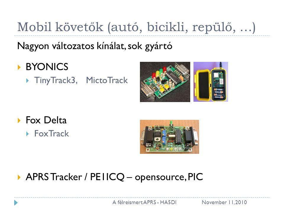 Mobil követők (autó, bicikli, repülő, …) Nagyon változatos kínálat, sok gyártó  BYONICS  TinyTrack3, MictoTrack  Fox Delta  FoxTrack  APRS Tracker / PE1ICQ – opensource, PIC November 11, 201020A félreismert APRS - HA5DI