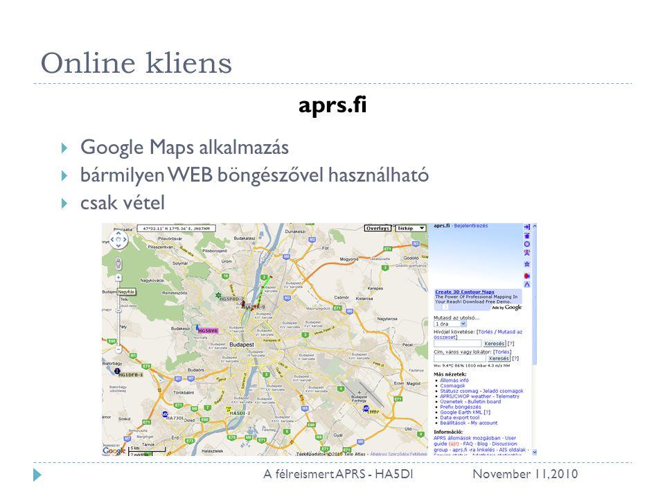 Online kliens aprs.fi  Google Maps alkalmazás  bármilyen WEB böngészővel használható  csak vétel November 11, 201022A félreismert APRS - HA5DI