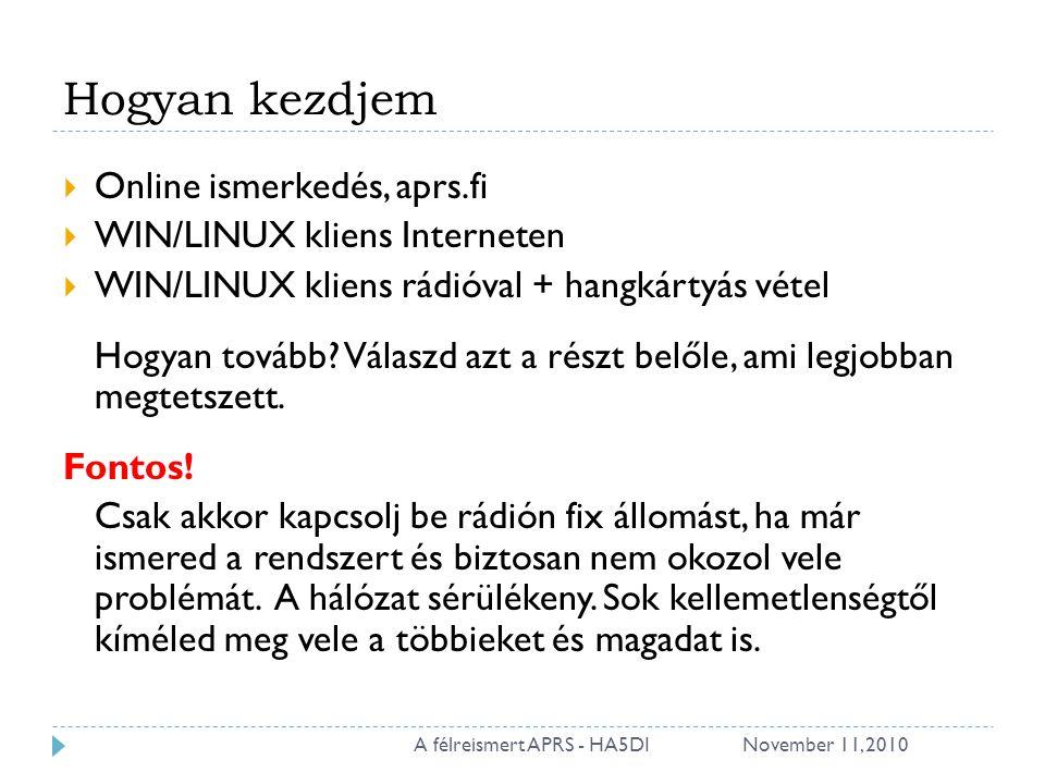 Hogyan kezdjem  Online ismerkedés, aprs.fi  WIN/LINUX kliens Interneten  WIN/LINUX kliens rádióval + hangkártyás vétel Hogyan tovább.