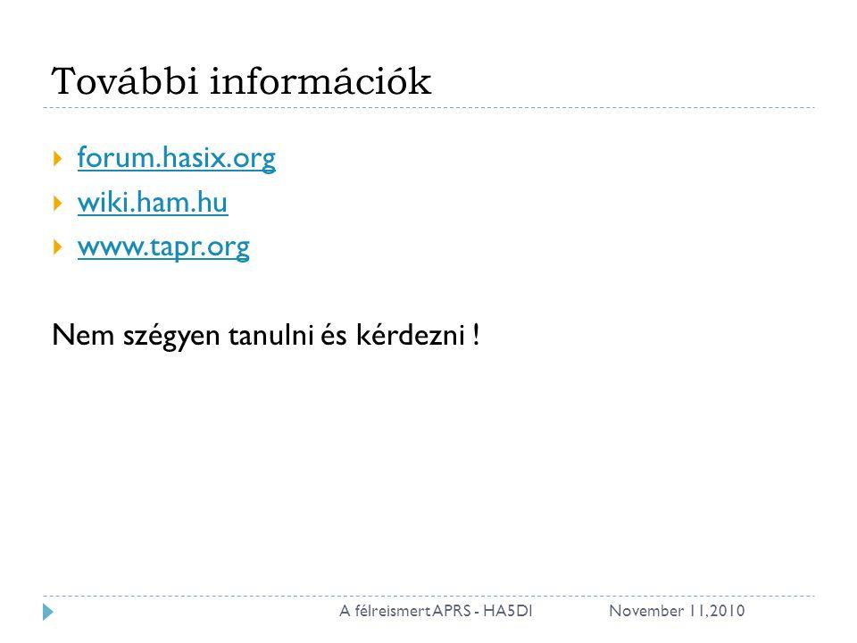 További információk  forum.hasix.org forum.hasix.org  wiki.ham.hu wiki.ham.hu  www.tapr.org www.tapr.org Nem szégyen tanulni és kérdezni ! November
