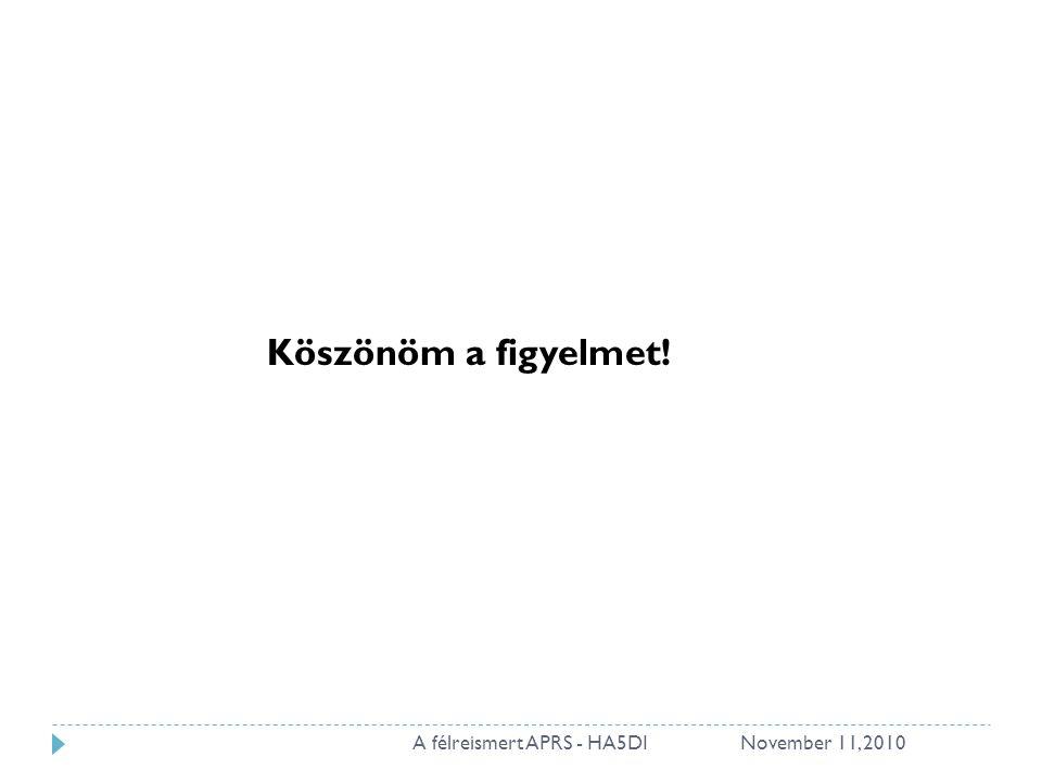 November 11, 2010A félreismert APRS - HA5DI28 Köszönöm a figyelmet!