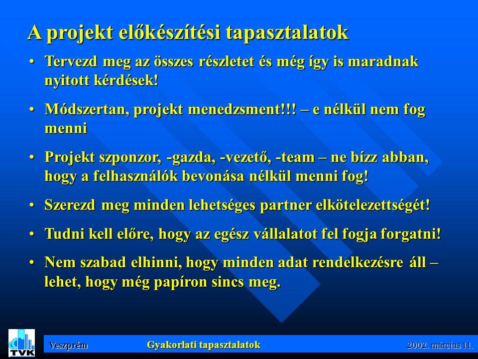 Veszprém Implementációs fázisok 2002. március 11.