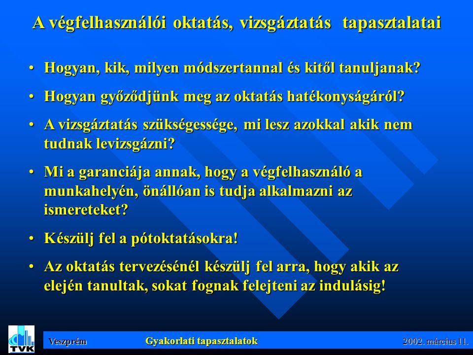 Veszprém Gyakorlati tapasztalatok 2002. március 11.