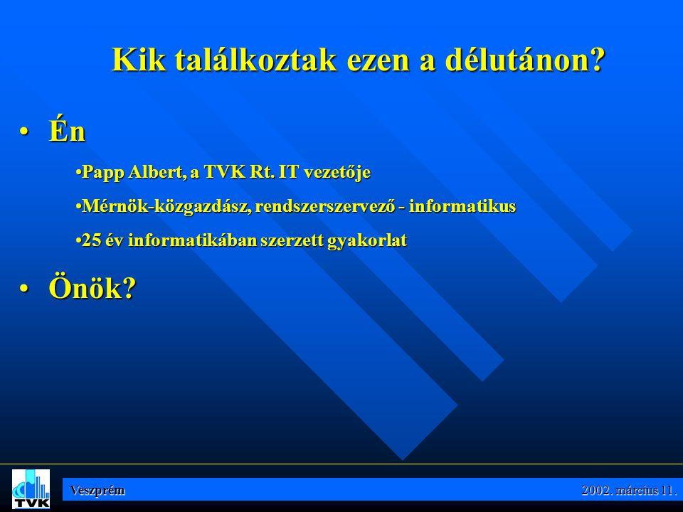 Kik találkoztak ezen a délutánon.• Én •Papp Albert, a TVK Rt.