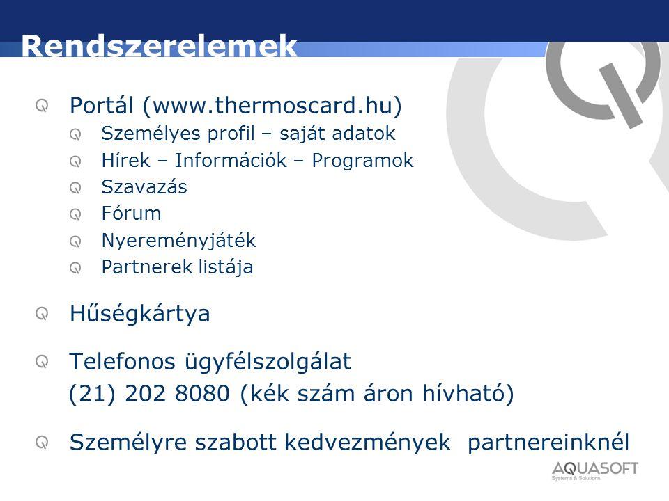Rendszerelemek Portál (www.thermoscard.hu) Személyes profil – saját adatok Hírek – Információk – Programok Szavazás Fórum Nyereményjáték Partnerek lis