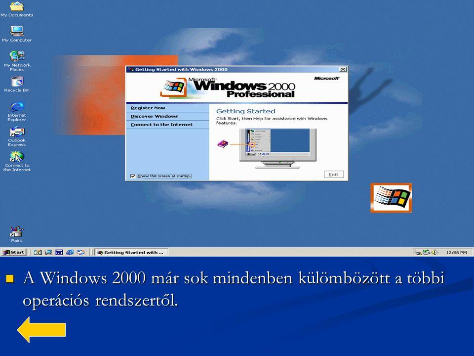  A Windows 2000 már sok mindenben külömbözött a többi operációs rendszertől.