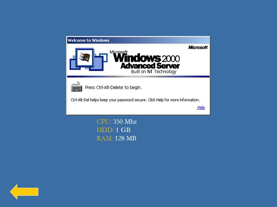 A Windows 2000 hardverigénye: CPU: 350 Mhz HDD: 1 GB RAM: 128 MB