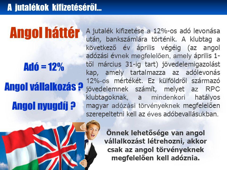 Angol háttér Adó = 12% Angol vállalkozás . Angol nyugdíj .