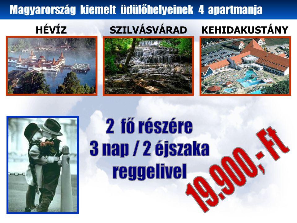 HÉVÍZSZILVÁSVÁRADKEHIDAKUSTÁNY Magyarország kiemelt üdülőhelyeinek 4 apartmanja