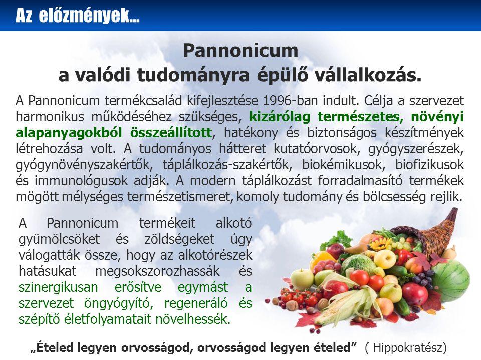 Az előzmények… A Pannonicum termékeit alkotó gyümölcsöket és zöldségeket úgy válogatták össze, hogy az alkotórészek hatásukat megsokszorozhassák és szinergikusan erősítve egymást a szervezet öngyógyító, regeneráló és szépítő életfolyamatait növelhessék.