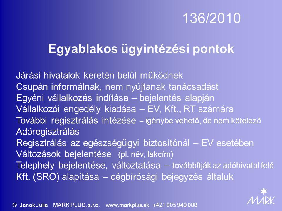 136/2010 Egyablakos ügyintézési pontok Járási hivatalok keretén belül működnek Csupán informálnak, nem nyújtanak tanácsadást Egyéni vállalkozás indítása – bejelentés alapján Vállalkozói engedély kiadása – EV, Kft., RT számára További regisztrálás intézése – igénybe vehető, de nem kötelező Adóregisztrálás Regisztrálás az egészségügyi biztosítónál – EV esetében Változások bejelentése (pl.
