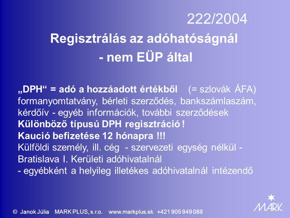 """222/2004 Regisztrálás az adóhatóságnál - nem EÜP által """"DPH = adó a hozzáadott értékből (= szlovák ÁFA) formanyomtatvány, bérleti szerződés, bankszámlaszám, kérdőív - egyéb információk, további szerződések Különböző típusú DPH regisztráció ."""