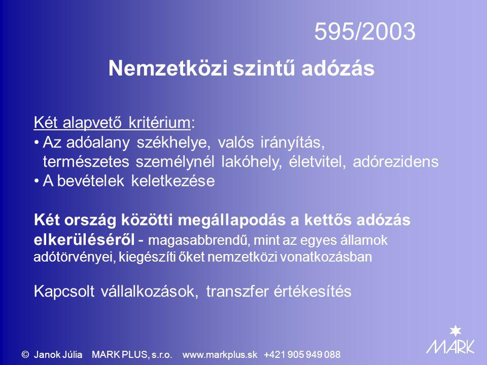 595/2003 Nemzetközi szintű adózás Két alapvető kritérium: • Az adóalany székhelye, valós irányítás, természetes személynél lakóhely, életvitel, adórez
