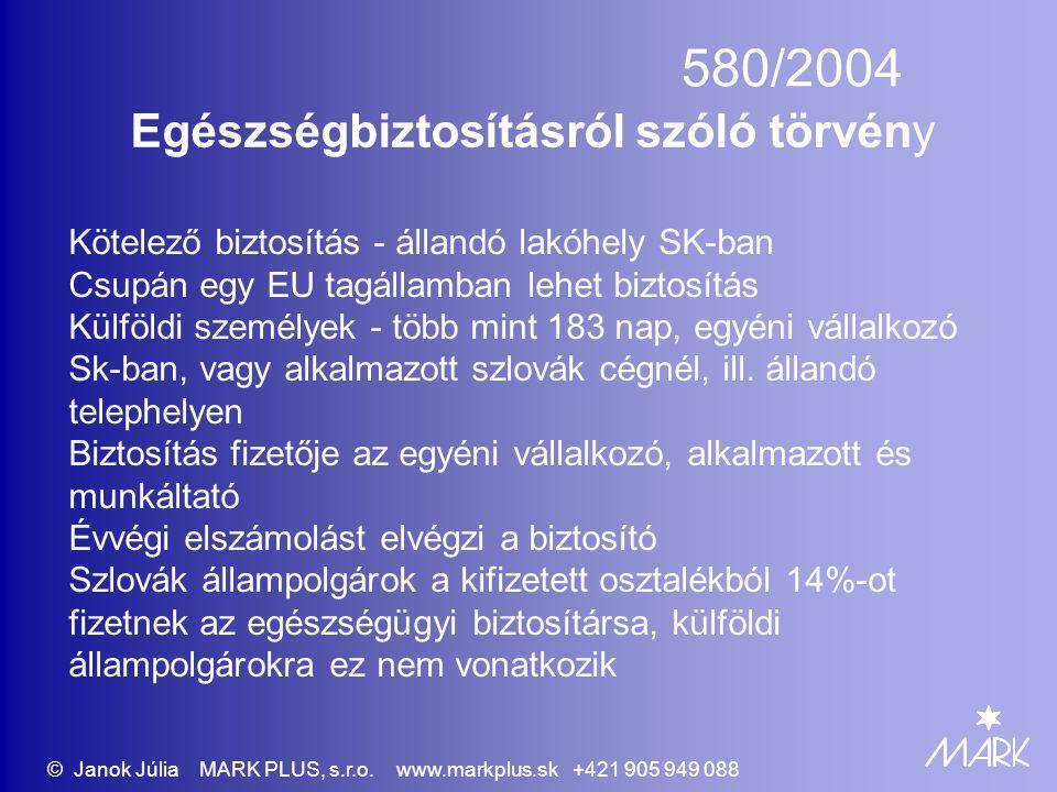 580/2004 Egészségbiztosításról szóló törvény Kötelező biztosítás - állandó lakóhely SK-ban Csupán egy EU tagállamban lehet biztosítás Külföldi személyek - több mint 183 nap, egyéni vállalkozó Sk-ban, vagy alkalmazott szlovák cégnél, ill.