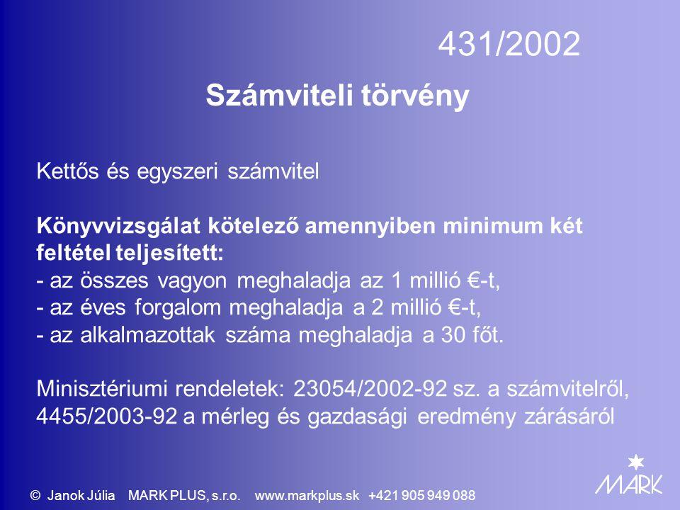 431/2002 Számviteli törvény Kettős és egyszeri számvitel Könyvvizsgálat kötelező amennyiben minimum két feltétel teljesített: - az összes vagyon meghaladja az 1 millió €-t, - az éves forgalom meghaladja a 2 millió €-t, - az alkalmazottak száma meghaladja a 30 főt.