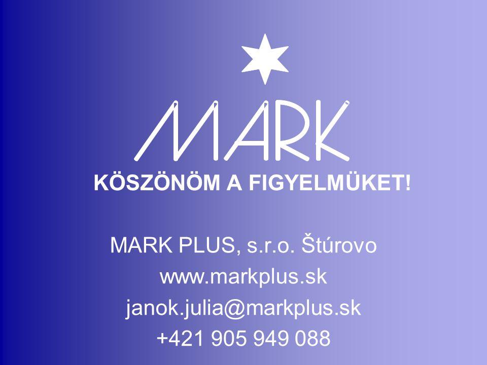 KÖSZÖNÖM A FIGYELMÜKET.MARK PLUS, s.r.o.