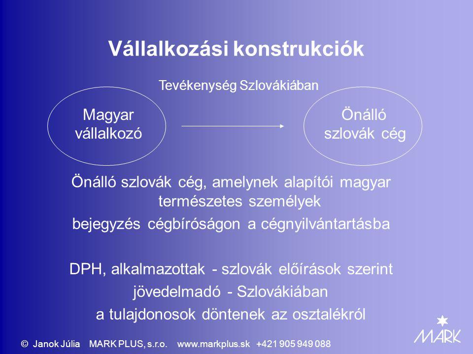 Vállalkozási konstrukciók Önálló szlovák cég, amelynek alapítói magyar természetes személyek bejegyzés cégbíróságon a cégnyilvántartásba DPH, alkalmazottak - szlovák előírások szerint jövedelmadó - Szlovákiában a tulajdonosok döntenek az osztalékról Magyar vállalkozó Önálló szlovák cég Tevékenység Szlovákiában © Janok Júlia MARK PLUS, s.r.o.