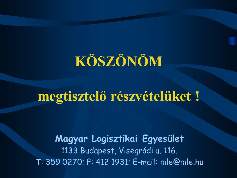 KÖSZÖNÖM megtisztelő részvételüket . Magyar Logisztikai Egyesület 1133 Budapest, Visegrádi u.
