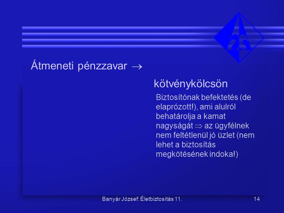 Banyár József: Életbiztosítás 11.14 Átmeneti pénzzavar  kötvénykölcsön Biztosítónak befektetés (de elaprózott!), ami alulról behatárolja a kamat nagy