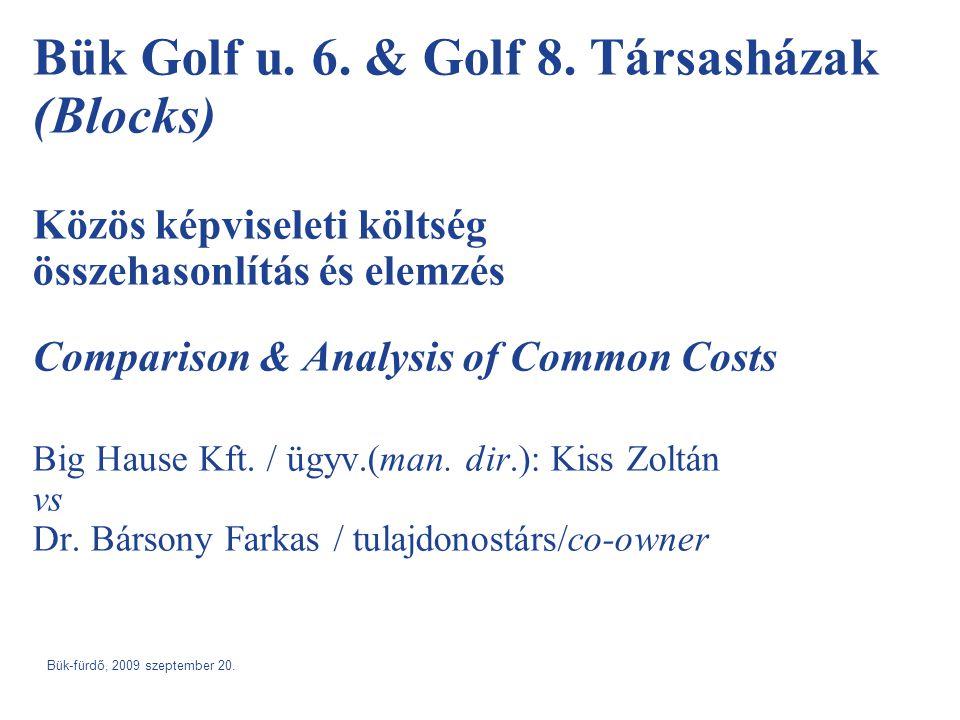 Bük Golf u. 6. & Golf 8. Társasházak (Blocks) Közös képviseleti költség összehasonlítás és elemzés Comparison & Analysis of Common Costs Big Hause Kft