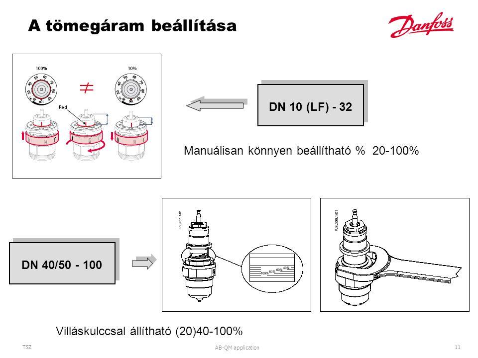 AB-QM application 11 TSZ DN 10 (LF) - 32DN 40/50 - 100 A tömegáram beállítása Manuálisan könnyen beállítható % 20-100% Villáskulccsal állítható (20)40-100%