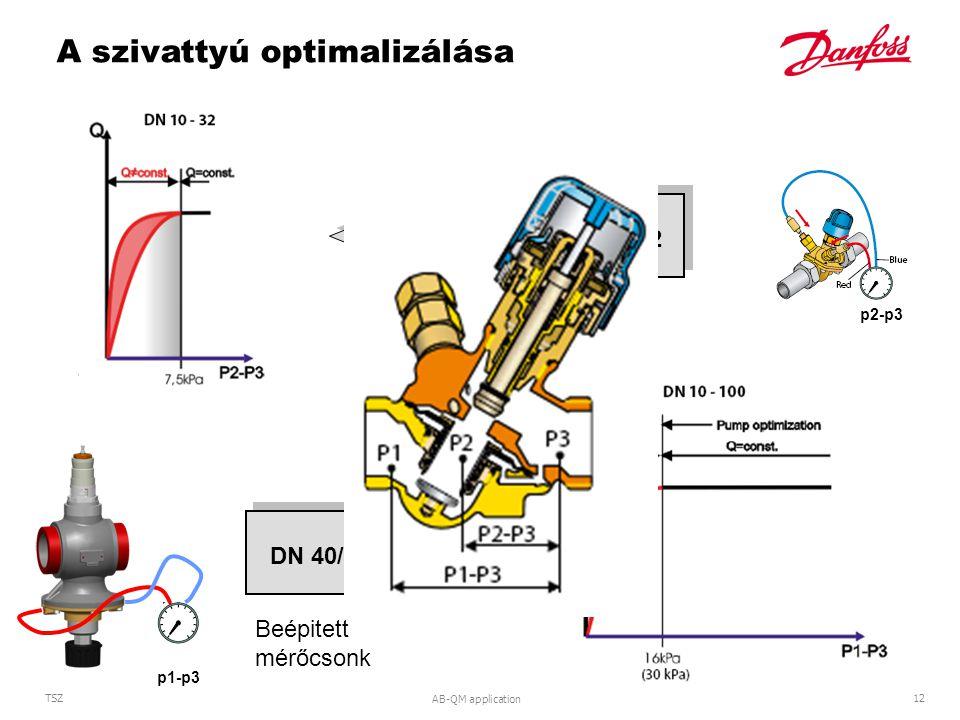 AB-QM application 12 TSZ DN 10 (LF) - 32DN 40/50 - 100 p2-p3 p1-p3 A szivattyú optimalizálása Beépitett mérőcsonk