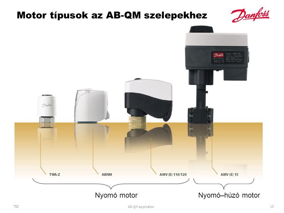 AB-QM application 13 TSZ Motor típusok az AB-QM szelepekhez Nyomó–húzó motor Nyomó motor