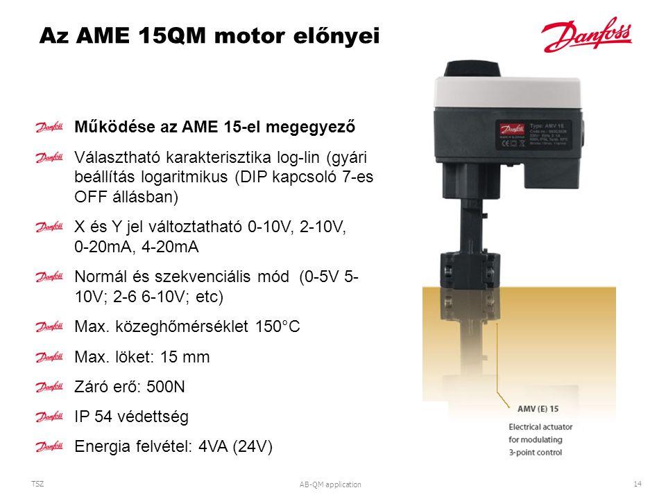 AB-QM application 14 TSZ Az AME 15QM motor előnyei Működése az AME 15-el megegyező Választható karakterisztika log-lin (gyári beállítás logaritmikus (DIP kapcsoló 7-es OFF állásban) X és Y jel változtatható 0-10V, 2-10V, 0-20mA, 4-20mA Normál és szekvenciális mód (0-5V 5- 10V; 2-6 6-10V; etc) Max.