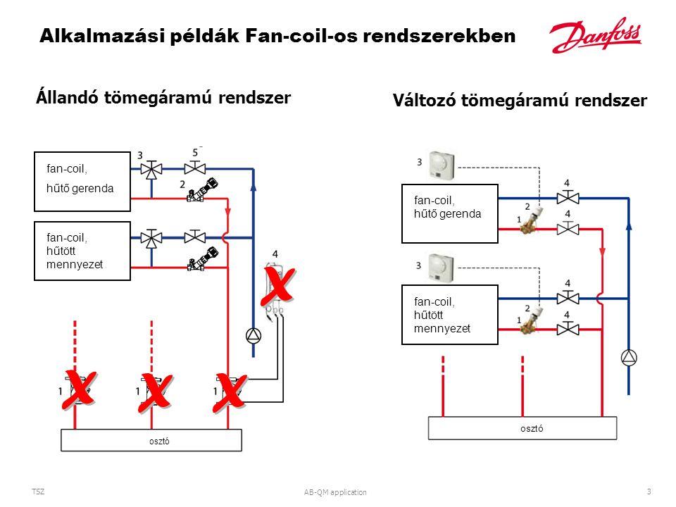 AB-QM application 3 TSZ Alkalmazási példák Fan-coil-os rendszerekben Változó tömegáramú rendszer Állandó tömegáramú rendszer fan-coil, hűtő gerenda fan-coil, hűtött mennyezet osztó distribution system fan-coil, chilled ceiling, chilled beam fan-coil, hűtő gerenda fan-coil, hűtött mennyezet osztó X X X X X X X X