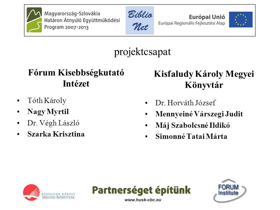 projektcsapat Fórum Kisebbségkutató Intézet •Tóth Károly •Nagy Myrtil •Dr.