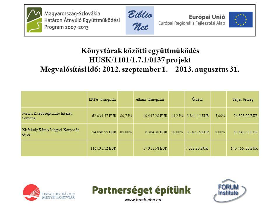 Könyvtárak közötti együttműködés HUSK/1101/1.7.1/0137 projekt Megvalósítási idő: 2012. szeptember 1. – 2013. augusztus 31. ERFA támogatás Állami támog