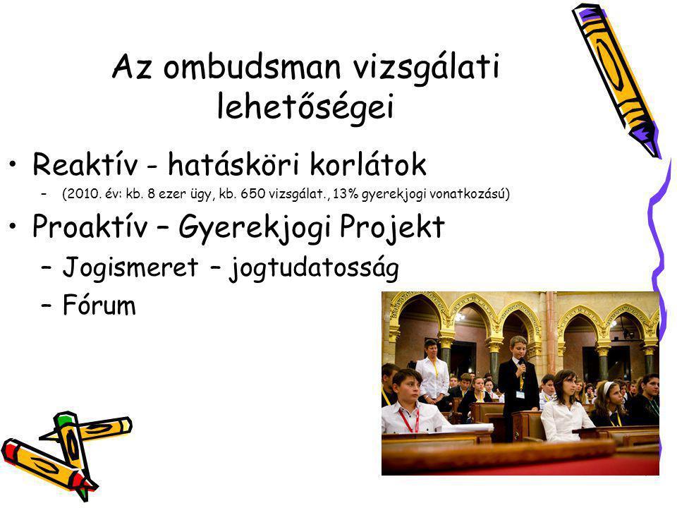 Az ombudsman vizsgálati lehetőségei •Reaktív - hatásköri korlátok –(2010.
