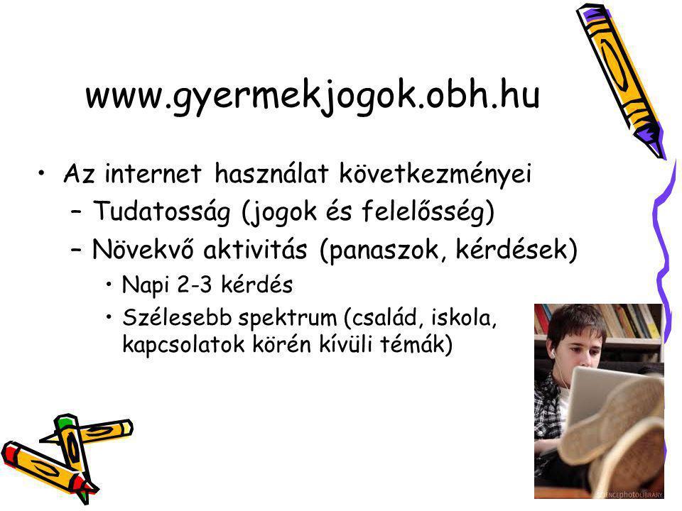 www.gyermekjogok.obh.hu •Az internet használat következményei –Tudatosság (jogok és felelősség) –Növekvő aktivitás (panaszok, kérdések) •Napi 2-3 kérdés •Szélesebb spektrum (család, iskola, kapcsolatok körén kívüli témák)